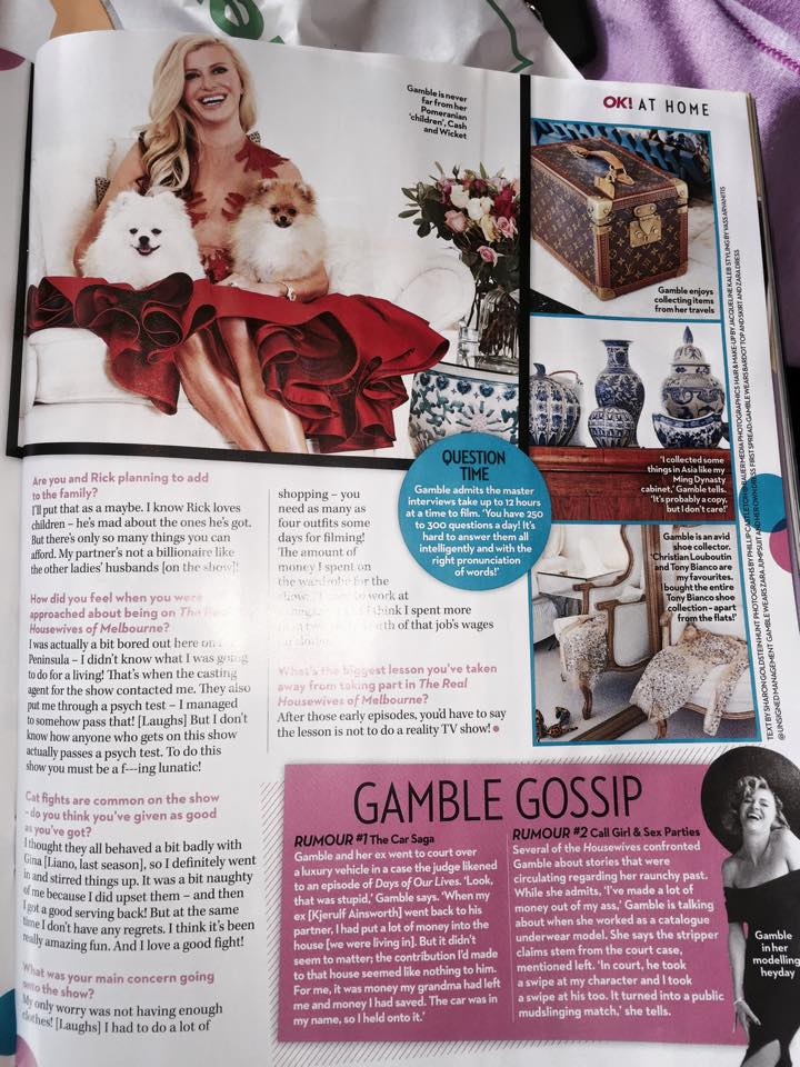Gamble Breaux and her Pomeranians appear in OK Magazine